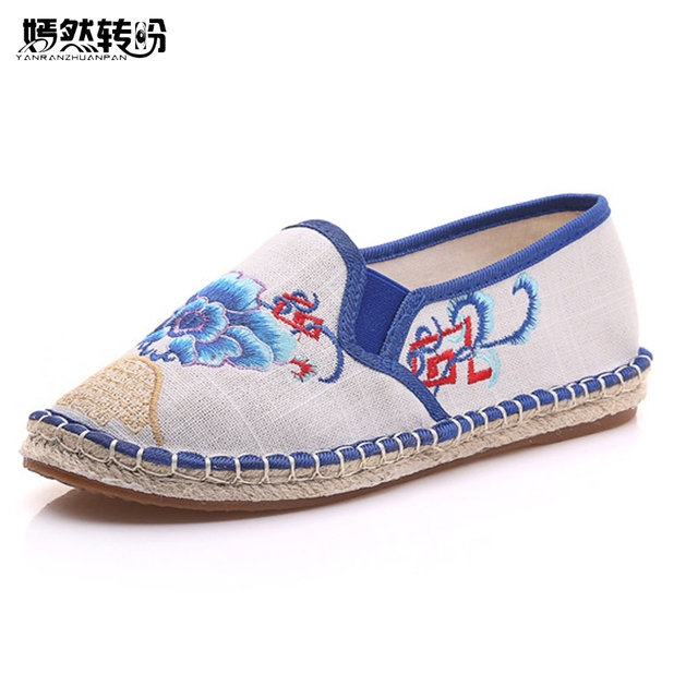 Chinese Women Shoes Flats Vintage Floral Embroidery Casual Soft Linen Loafers  Canvas Drive Ballet Flat Woman Zapatos Mujer 926e97635b64