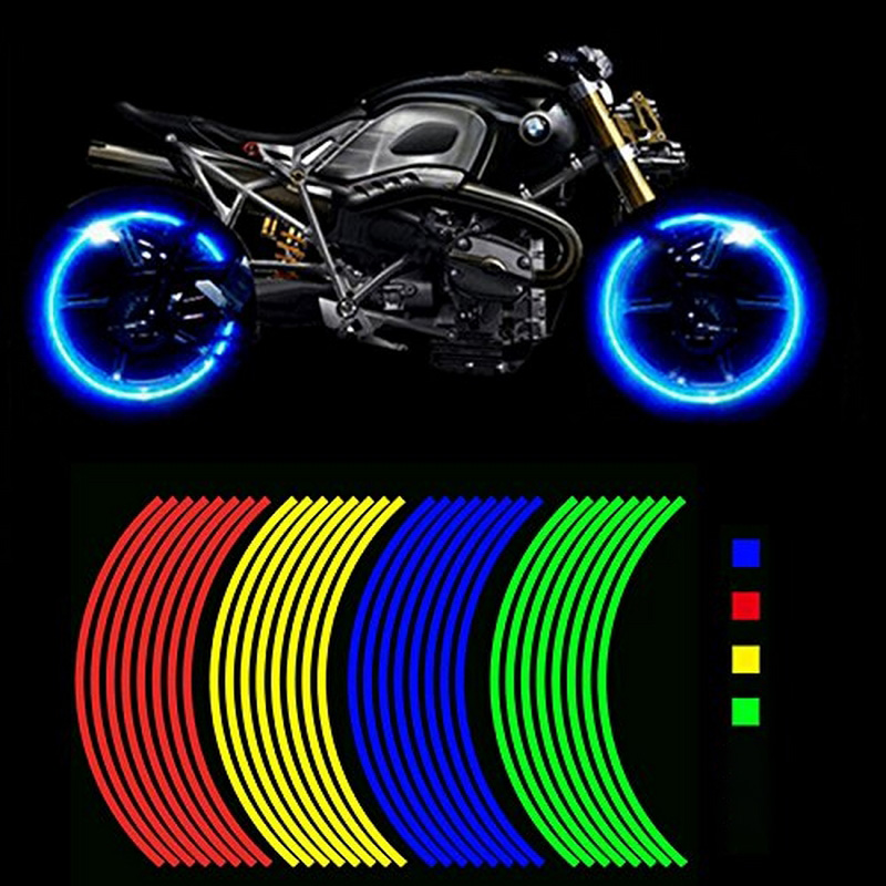 16pcs Reflective Strips Car Wheel Stickers For 16/17/18 Inch Auto Vehicle Wheel Waterproof Sticker Decal Tape