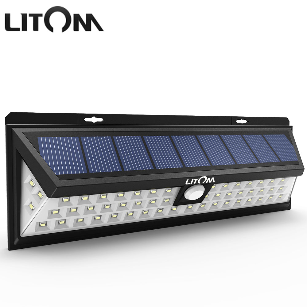 LITOM Waterproof 54 LED Solar Light Lamp Wide Angle Motion Sensor Solar Powered Lights Outdoor Garden Wall Led Night Lighting цены