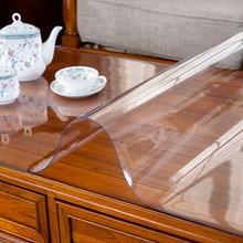2019 Новое поступление прозрачных скатерти из ПВХ толщиной 1 мм/1,5 мм/2 мм Мягкие стеклянные маслостойкие скатерти домашние текстильные скатерти