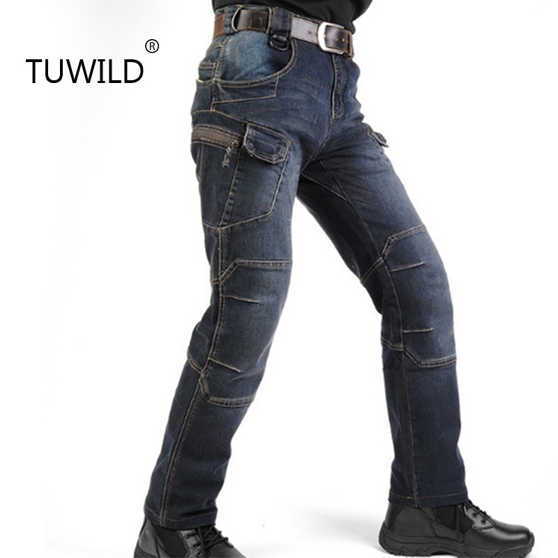 Military style pants men outdoor work motorcycle cowboy biker jeans new special police elastic tactical clothing