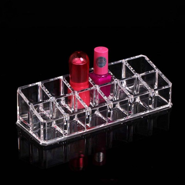 New Arrival 12 Grids Transparent Lipstick Holder Clear Acrylic Display Stand Sundry Storage Box Cosmetic Makeup Organizer 3