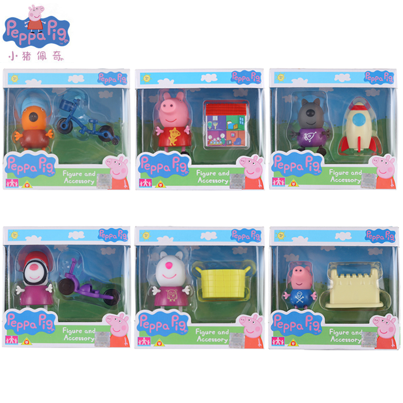 Genuine Peppa Pig Family figures toys Child gifts kids play game toy set Christmas Gift Toy цены