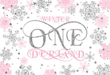 7x5FT 5 Style Silver Pink Winter Wonderland Onederland Snowflakes Custom Photo Studio Backdrop Background Vinyl 220cm x 150cm(China)