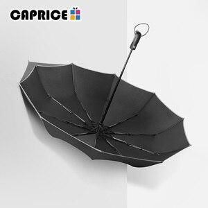 Image 3 - Rüzgara dayanıklı Üç Otomatik Katlanır Şemsiye Yağmur Kadınlar Otomatik Lüks Büyük Rüzgar Geçirmez Şemsiye Erkek Çerçeve Rüzgar Geçirmez 10 K Şemsiye