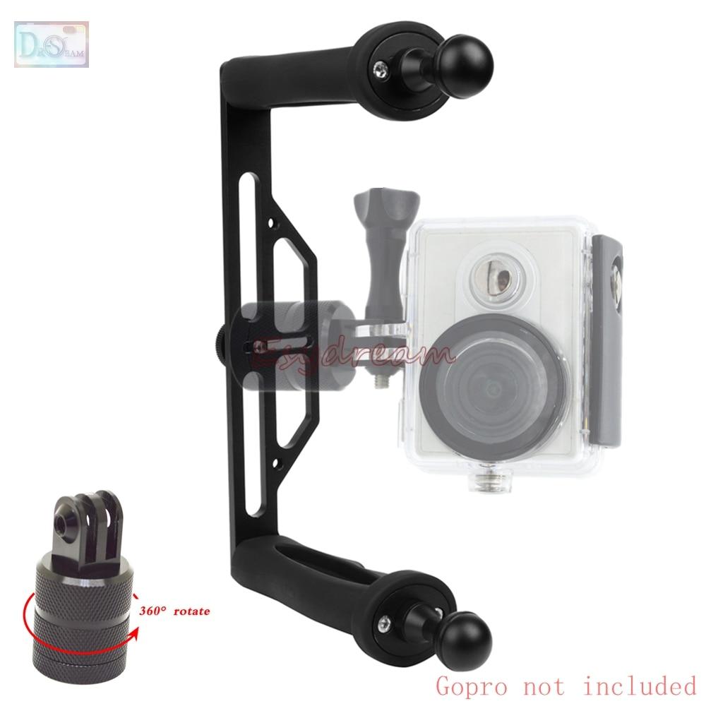 Metal Waterproof Handheld Stabilizer Handle Bracket Grip + 360 Degree Mount Adapter for GoPro 5 4 3+ Xiaomi Yi 4K SJCAM SJ4000 m s3 rubber handle grip stabilizer mount with tripod for gopro hero3 2 1