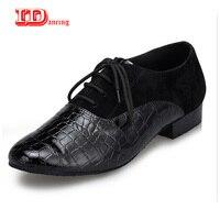 IDancing 2018 new Ballroom dancing shoes Men's Latin dance shoes fashion tango Square shoes Genuine leather Low heel