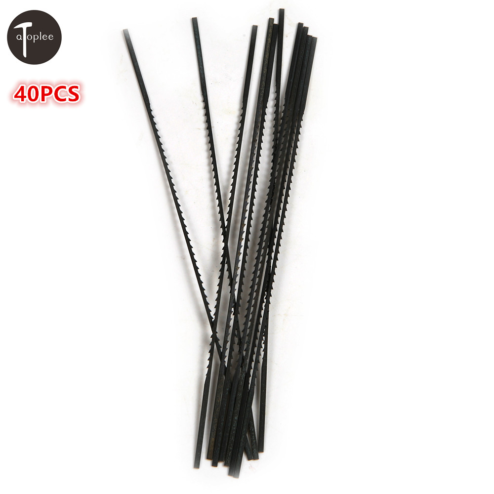 Atoplee 40PCS 1# 0.6mm,2# 0.63mm,10# 1.26mm,12# 1.45 Tooth Scroll Saw Blades Woodworking Metal Stone Saw Power Tools