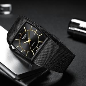 Image 2 - NIBOSI トップブランドの高級男性スクエアクォーツ時計男性防水日付時計黒メッシュステンレス鋼の腕時計 2019