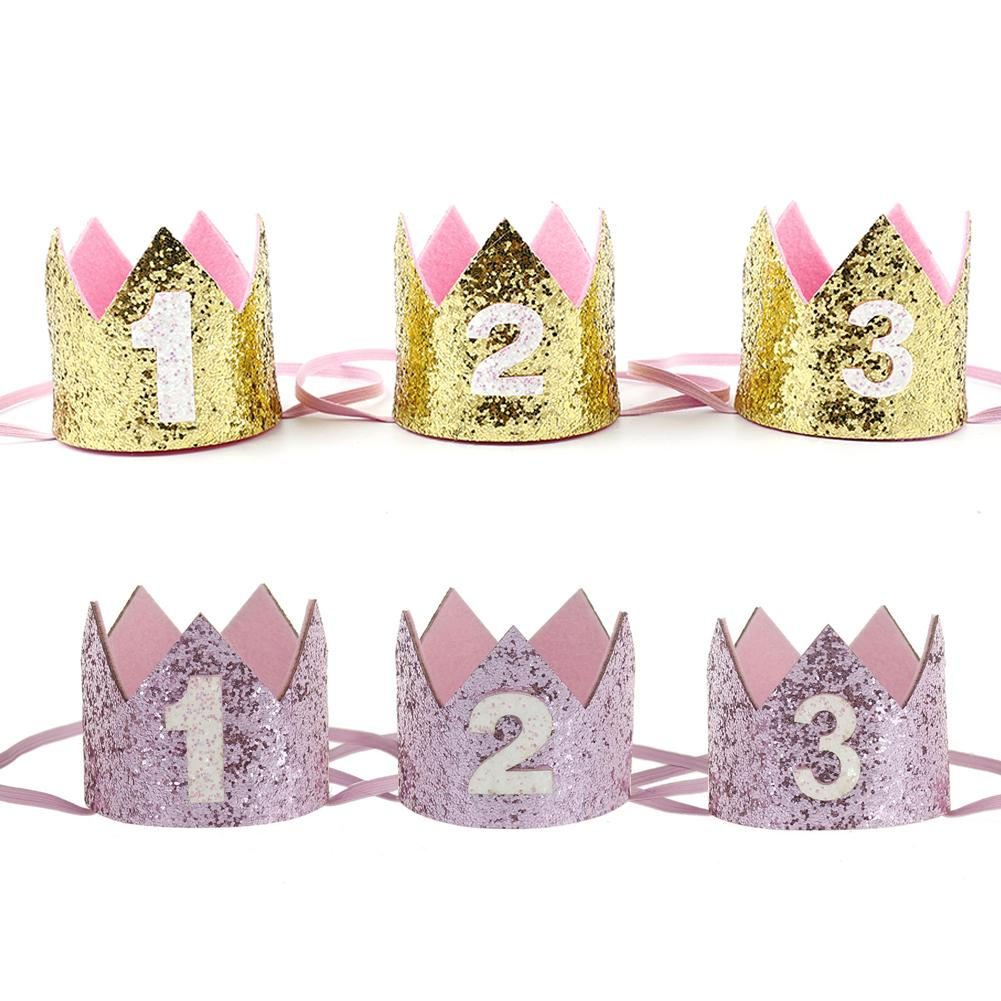Boy Blue Silver First Birthday Hat Girl Gold Pink Princess Crown Number 1 2 3 Year Old Party Glitter Headband