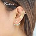 FANHUA Fashion Ear Jacket Colorful Rhinestone Flower Stud Earrings Gold Wing Design Clip-on Earrings for Women