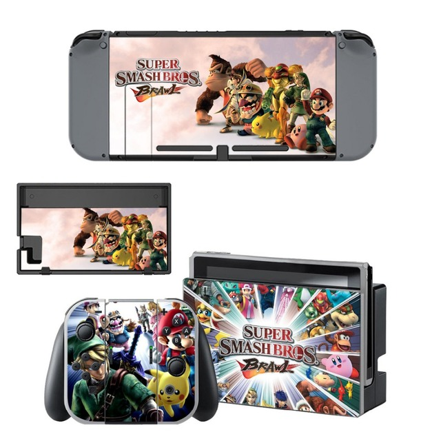 Protector Sticker of Super Smash Bro s Decal Vinyl Skin for Nintend Switch NS Console Controller +Stand Holder Protective Film 3