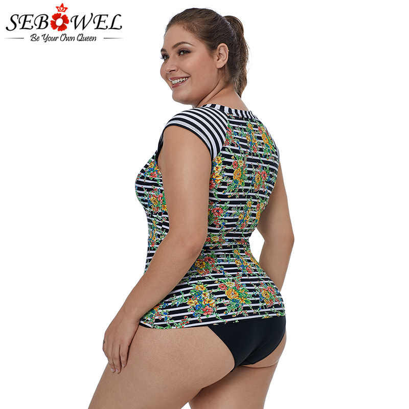 SEBOWEL Cap Sleeve Floral And Striped Skinny Rash Guard Swim Top 2019 Women Plus Size One Piece Wrestling Singlet Swiming Suit