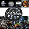 1PCS 7 INCH Round LED Projection Daymaker Headlight for Harley Davidson Motorcycles with Hi/Lo Beam DRL Turn signal