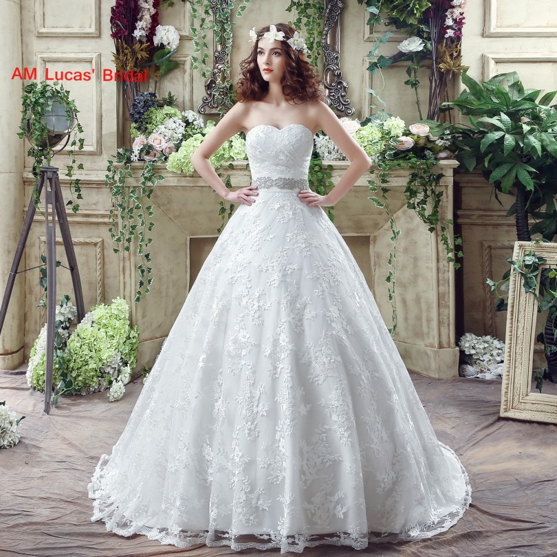 New Ball Gown Wedding Dresses Lace Sweetheart Neckline Bridal Party ...