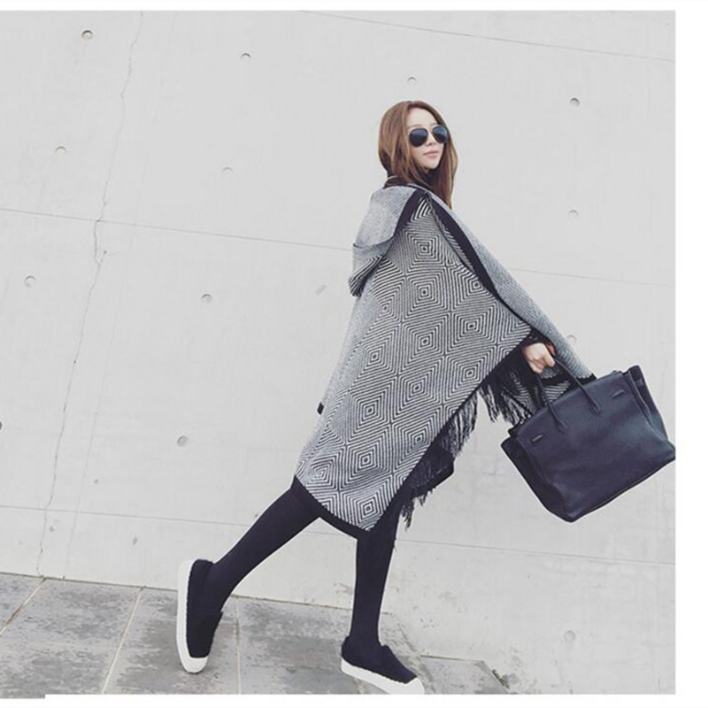 2019 Tassel Poncho Women 39 s Knitted Coat Winter Scarves Fashion Geometric Thick Warm Ponchos and Capes Big Size in Women 39 s Scarves from Apparel Accessories