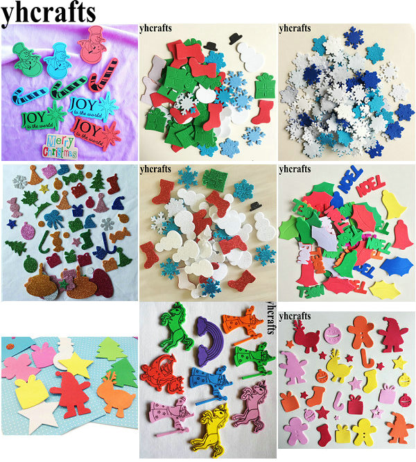 цена на 50PCS/LOT,Xmas foam stickers Snowflake Santa Gingerbread Snowman Joy Noel Foam shape Kids room ornament Santa decorative OEM