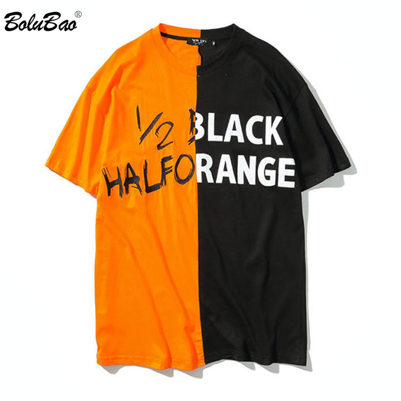 BOLUBAO Men T shirt Streetwear patchwork Men T shirts Tee Skateboard Tee Boy Skate Fashion Casual Style T shirts Male