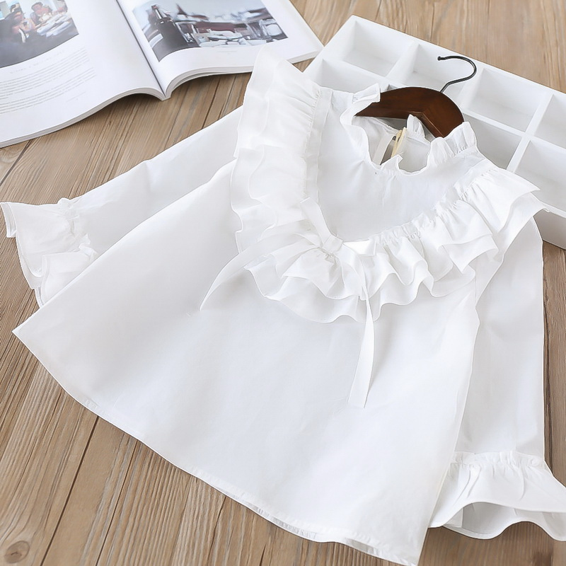 45-6-baby girl ruffles Solid blouses