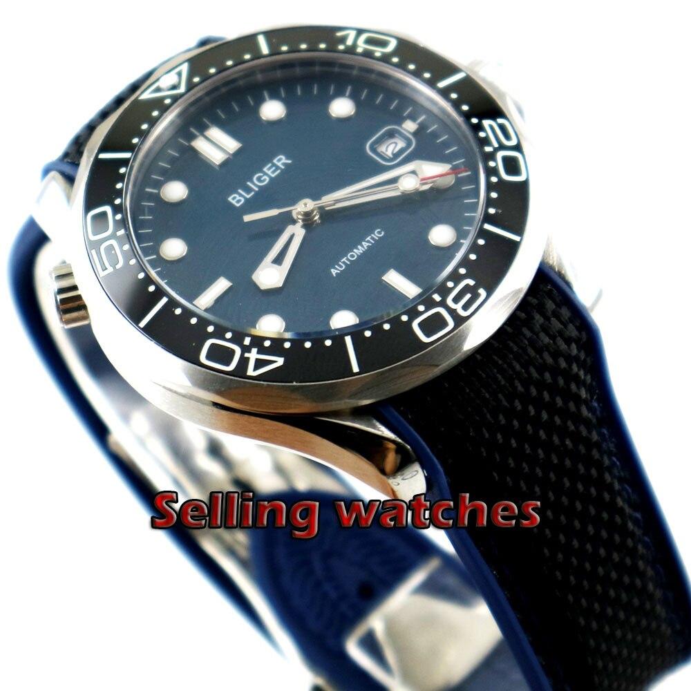 41mm bliger Blue dial Luminous black ceramic bezel Sapphire Glass Automatic Wristwatches date Mechanical mens watch