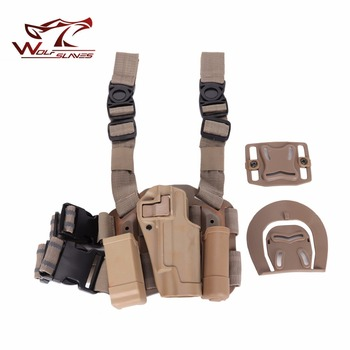 CQC Tactical 1911 Gun Holster Magazine SET MOLLE Drog Leg Holster Magazine and Flashlight Pouch Right Handed Hunting Accessories фото