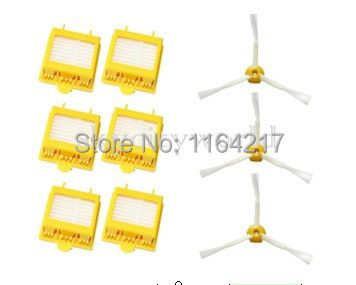 6 Pcs Heap Filter +3 sibe brush 3 Armed kit for iRobot Roomba 700 Series 760 770 780 790 Vacuum Cleaner Accessory parts