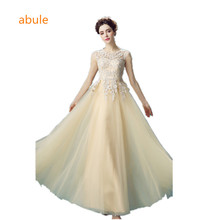 abule 2017 lece Tulle long Evening Dresses champagne satin Party Dress  a-line sleeveless robe 3ba4012dcfcb