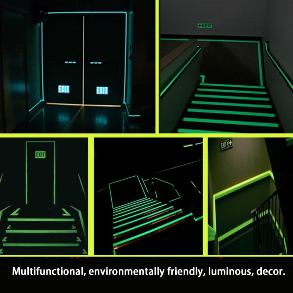 Купить с кэшбэком Reflective Glow Tape Self-adhesive Sticker Removable Luminous Tape Fluorescent Glowing Dark Striking Night Warning Tape
