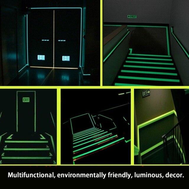 Reflective Glow Tape Self-adhesive Sticker Removable Luminous Tape Fluorescent Glowing Dark Striking Night Warning Tape 5