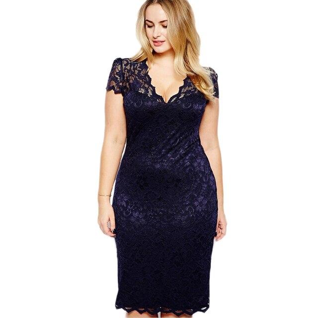 Lace Dress for Fat Female Plus Size Women Blue Sexy Deep V Neck Hollow Out Peplum Flower Tight Slim Midi Sheath Dress 40*Y365!