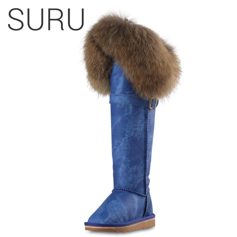 SURU Blue Womens 2018 Luxury Winter Boots Leather With Fur High Boots Woman On Knee