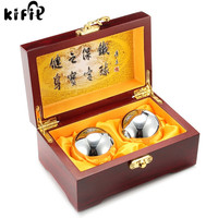 KIFIT Useful 2Pcs Metal Exercise Hand Wrist Solid Chrome Baoding Balls Chinese Health Exercise Therapy Stress
