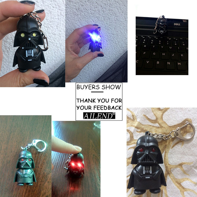 VKME 2018 Star Wars Keyring Light Black Darth Vader Pendant LED KeyChain For Man Gift 3