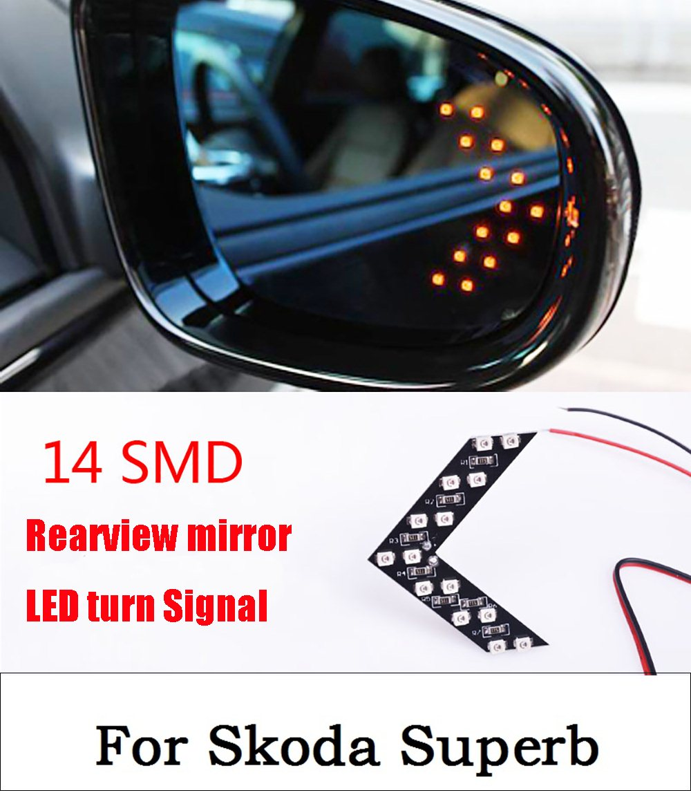 New 2017 2pcs 14SMD Yellow/Red/Blue/Green/White LED Arrow Panels Car Side Mirror Turn Signal Indicator light For Skoda Superb