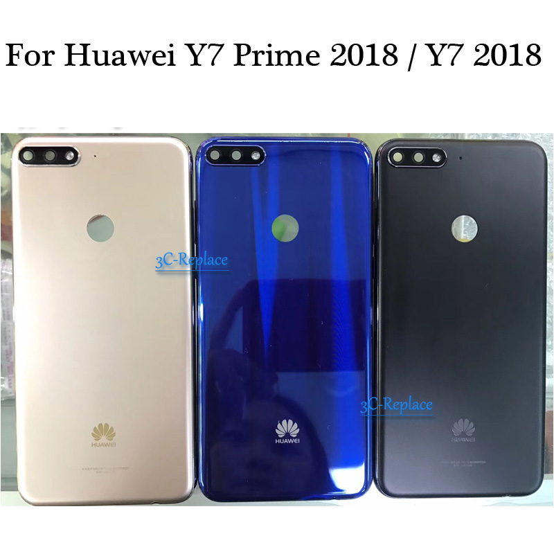 Cover Back-Battery Huawei Door-Housing-Case Rear-Glass-Parts for Y7 Pro