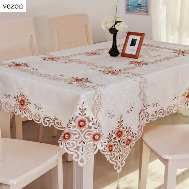 Vezon New Hot Fashion Jacquard Embroidery Floral Tablecloth Cutwork  Embroidered Table Cloth Cover For Wedding Home
