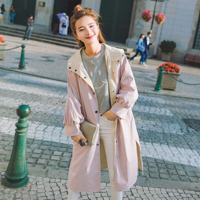 Femmes Nouvelle Tranchée Coréenne vent Manteau Automne Pink Deux Lâche Pardessus caramel Green À Sur pea 2018 Capuchon Printemps Longue Occasionnel Colour Coupe Les Côtés Manteaux Femelle nPrzOFP