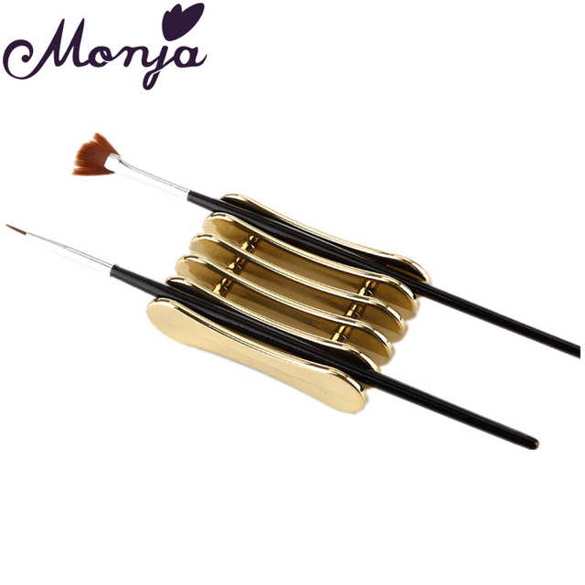 Monja 5 Grid Nail Art Brush Tool Storage Holder Slim Carving Painting Pen Brushes Carrying Holding Showing Support Stand Rack