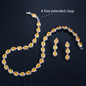 Image 5 - CWWZircons Stunning Pear Cut CZ Zirconia Stone Women Fashion Wedding Party Earrings Necklace Jewelry Sets T019