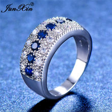 2018 Women Ladies Blue Stone Ring Crystal Round Zircon Finger Ring Cute Wedding Jewelry 925 Silver Love Engagement Ring(China)