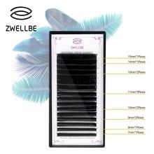 Zwellbe 16 שורות/מקרה 7 ~ 15mm הארכת 3D נפח רך מבריק שחור ריסים מלאכותיים ריסים cilios איפור כלי