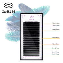 zwellbe 16rows/case 7~15mm Individual Eyelash Extension 3D Volume Soft Glossy Black False Eyelashes cilia cilios Makeup Tool