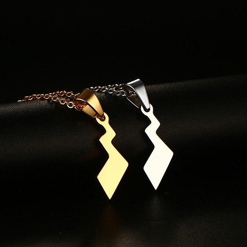 Высокая-конец нержавеющей стали 25.5 см позолоченный ожерелье кулон серебрение Lightning Хвост Подвеска withnecklace ювелирные изделия