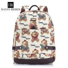 Danny bieber 2017 новое прибытие холст женщины рюкзак медведь сумка известного бренда ноутбук mochila для подростков школьного рюкзака