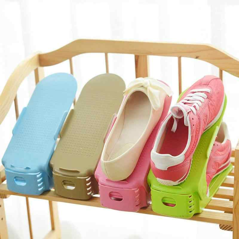Home Use Shoe Organizer Durable Adjustable  Footwear Support Slot Space Saving Cabinet Closet Stand Shoes Storage Rack Shoe boxe