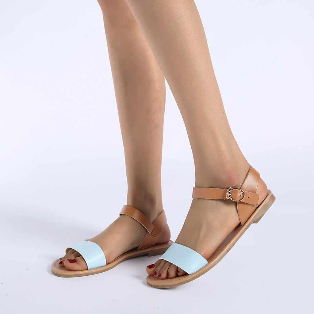 2fd051ad ... SAGACE damskie sandały jednolity kolor PU skórzane sandały kobiety moda  styl płaskie letnie damskie buty damskie ...