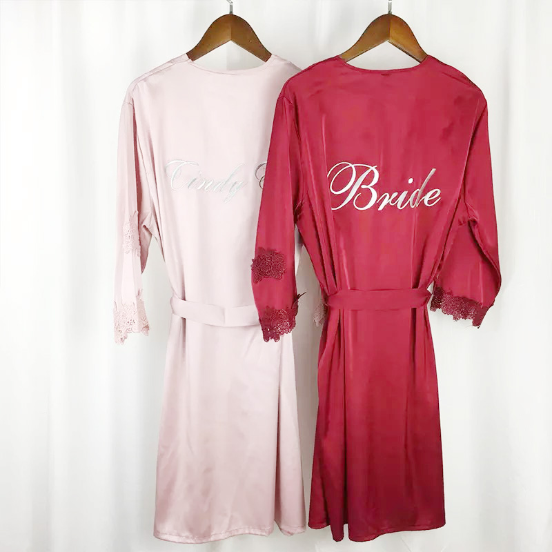 63d86ce054 1set lot Good quality Personalized Silk Nightwear Robes gf Birthday Anniversary  Gifts satin robes Wedding Bride Bridesmaid
