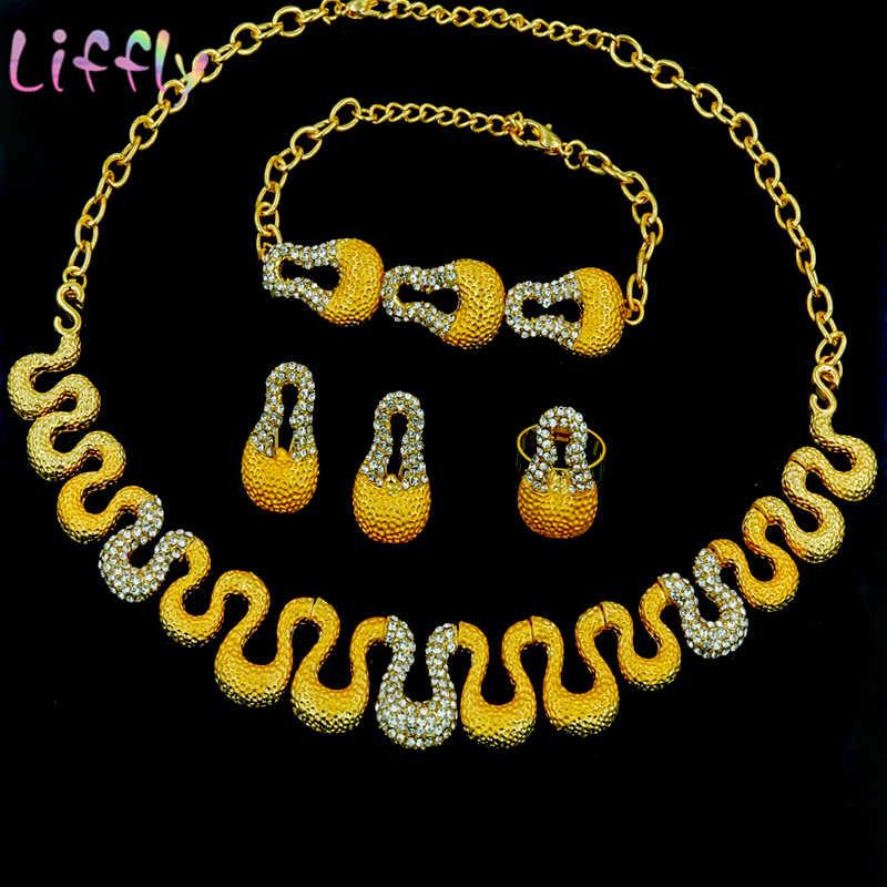 Afrikanischen Schmuck-Set Damen Schmuck Set Hochzeit Engagement Schmuck Halskette Ring Ohrringe Armband Indischen Braut Schmuck