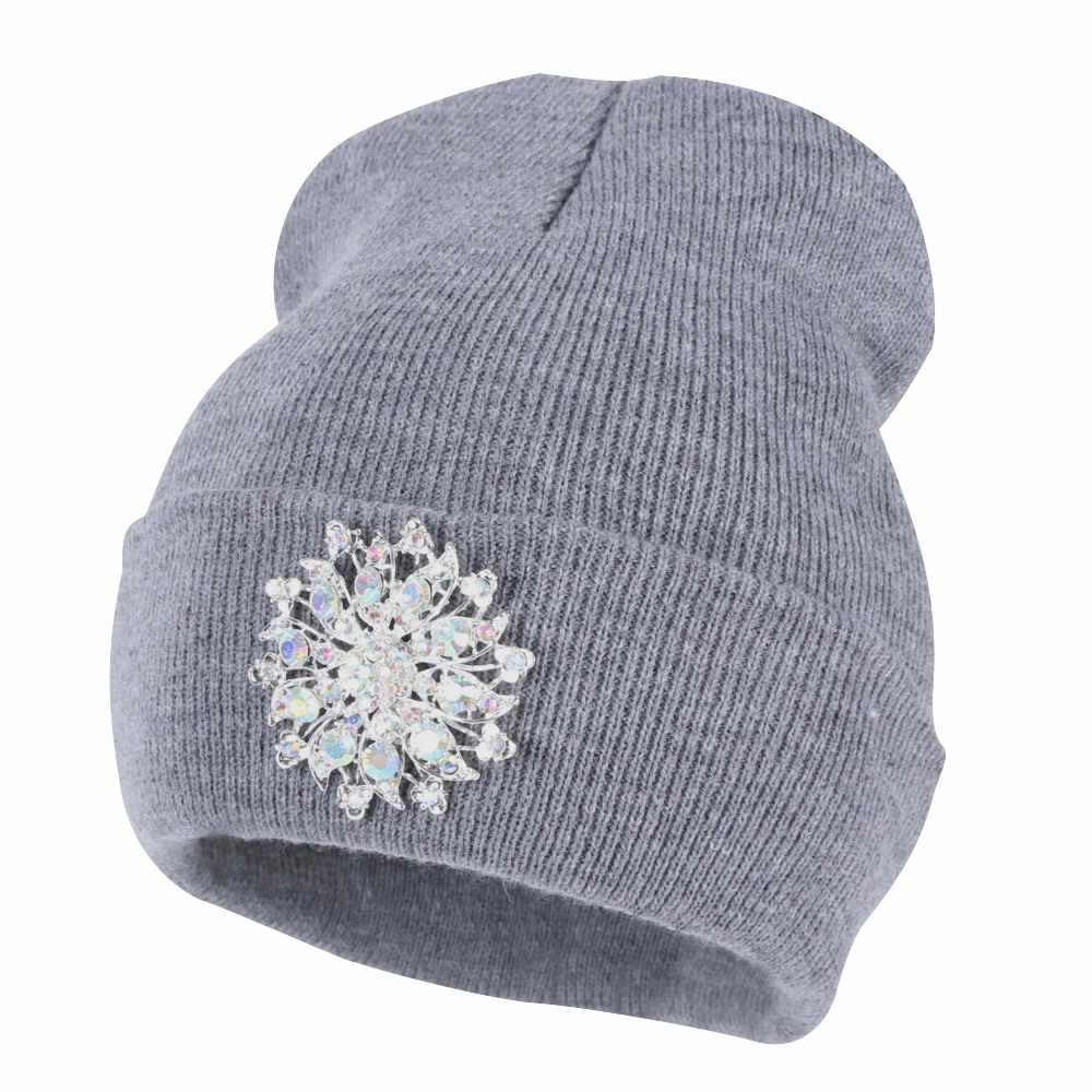 f7e3d85bf women fashion beanies bling luxury floral winter hat Girl casual skullies  white navy black crystal new winter hats woman beanie
