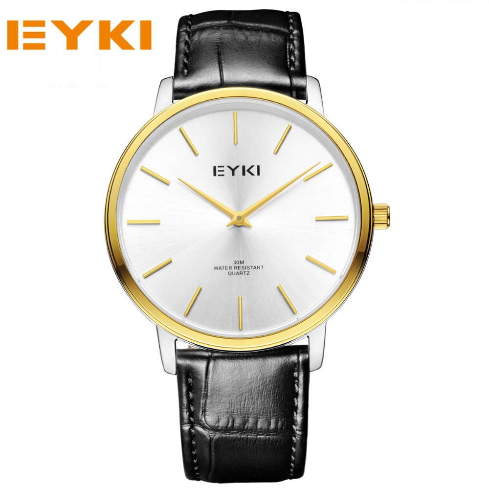 ФОТО EYKI Luxury Brand Lover's Watches Leather Strap Wristwatches Waterproof Quartz Watches Casual Business Couples Clocks Reloj.